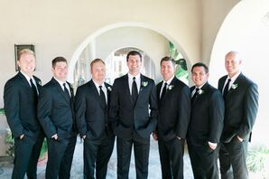 Groomsmen in Elegant, Simple Black Suits