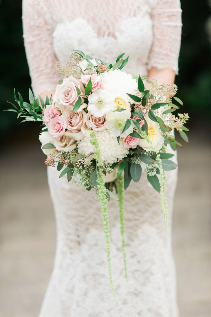 Planterra created this lush, hand-tied bouquet using champagne and blush roses, sage, dahlias and eucalyptus.