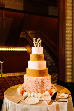 Glamorous Gold, White and Pink Tiered Cake with Gold Cake Topper