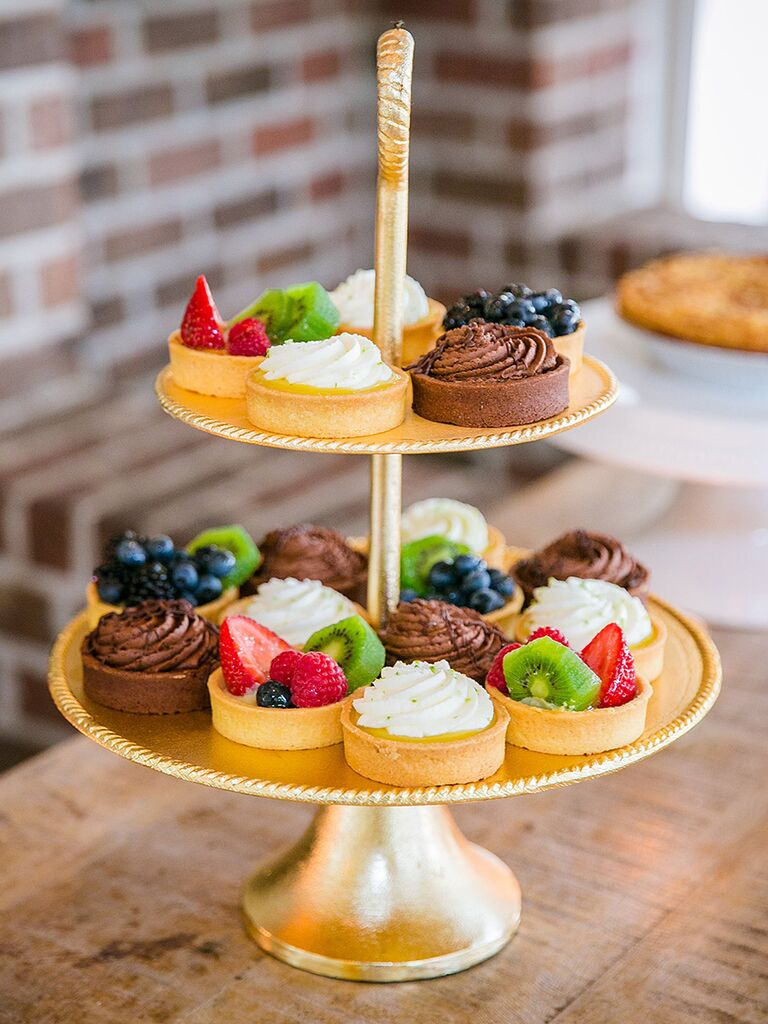 Southern wedding food dessert idea with fruit tarts and mousse