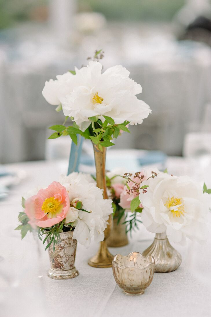 Floral Centerpieces in Metallic Vases