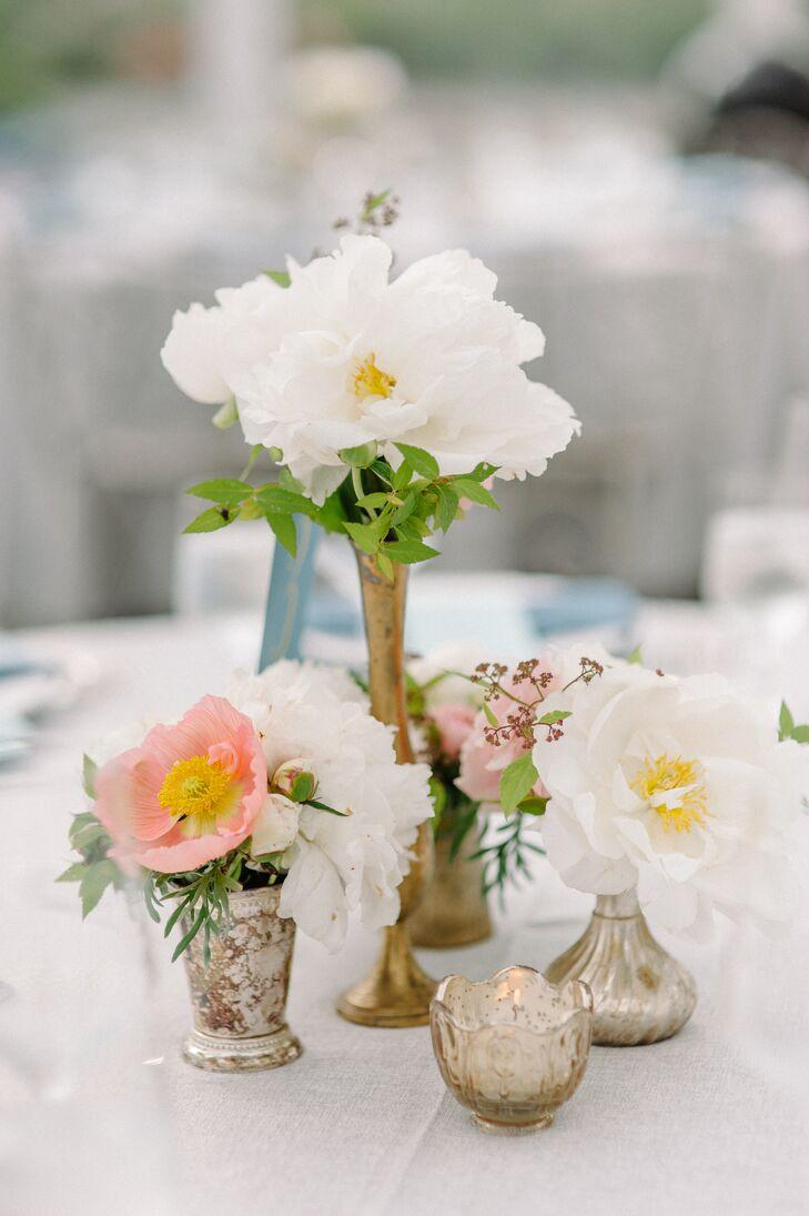 Floral Centerpieces in Metallic Vases