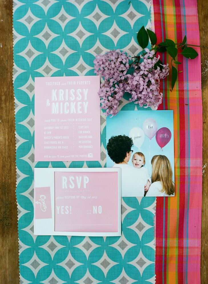 The couple had their invitations custom created based on their color palette of pink, gray and teal.