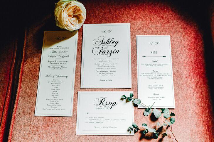 Classic Black and White Script Wedding Invitations