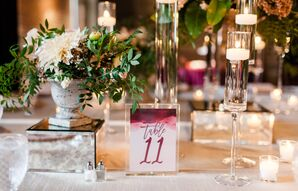 Purple Ombre Table Number with Watercolor Illustration