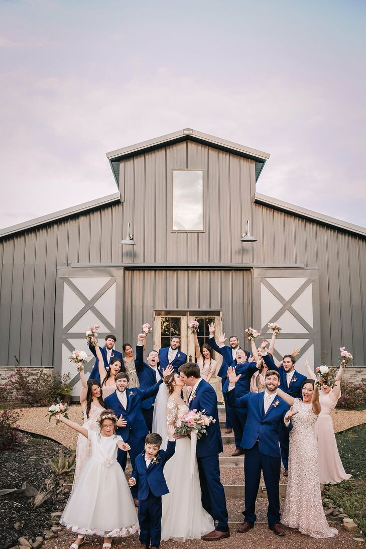 Wedding Party in Blush and Navy Blue at Sainte Terre