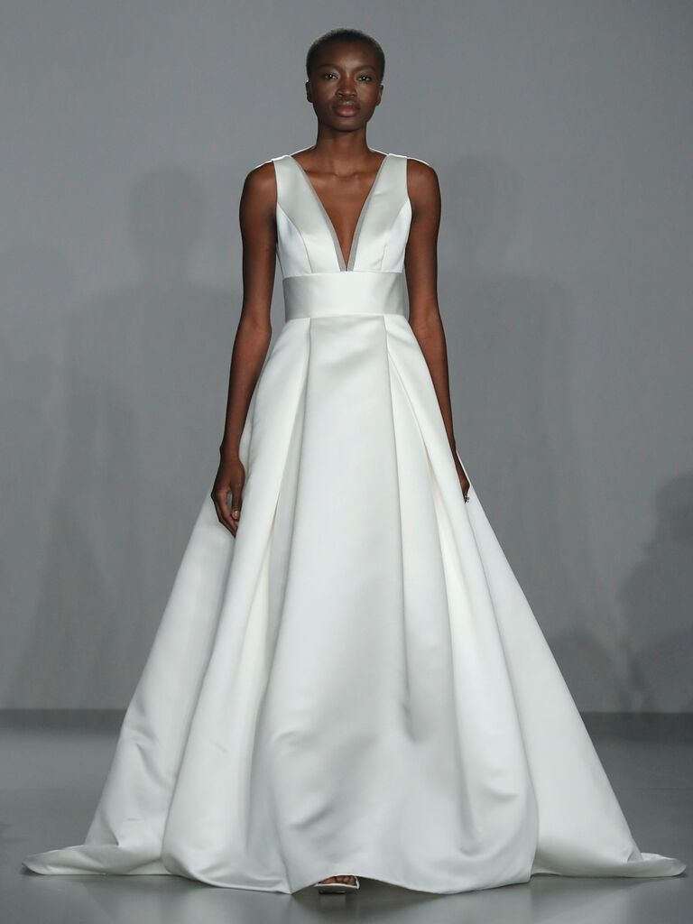 Nouvelle Amsale Spring 2020 Bridal Collection structured A-line sleeveless wedding dress with plunging neckline