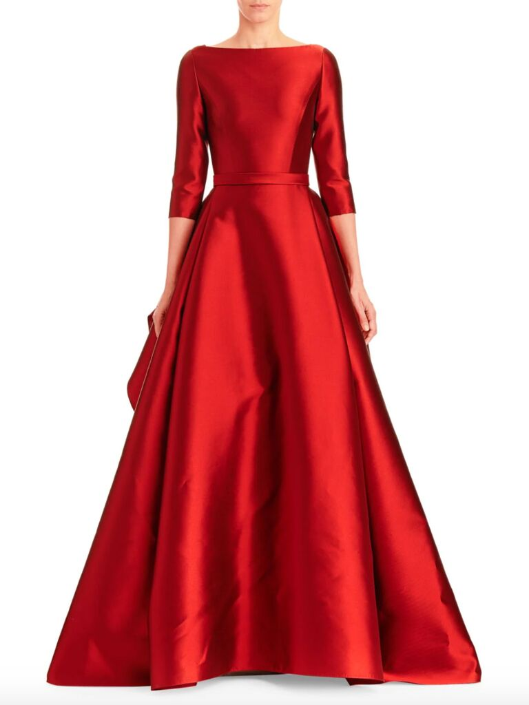 Carolina Herrera boatneck silk and wool ball gown