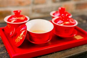 Chinese Tea Cups at Classic Garden Wedding in Wilmington, North Carolina