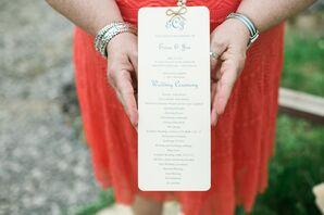 Neutral Ceremony Program With Blue Script
