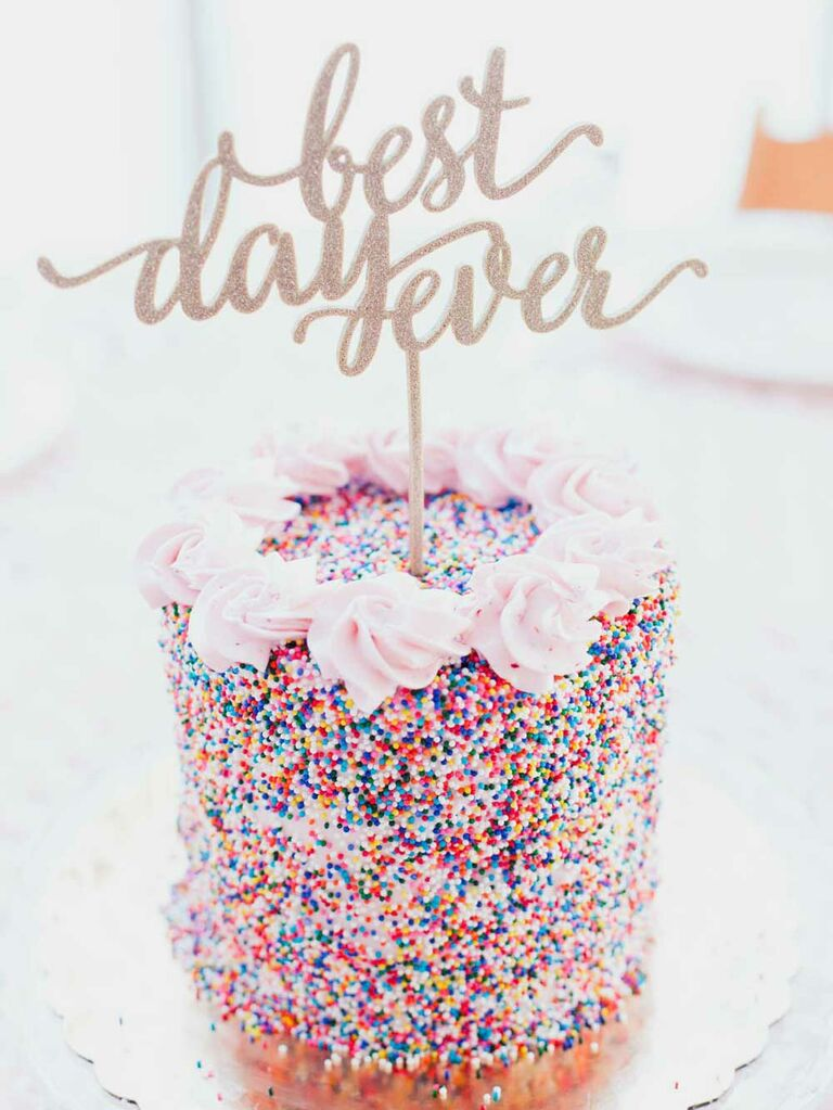 Small wedding cake with rainbow sprinkles