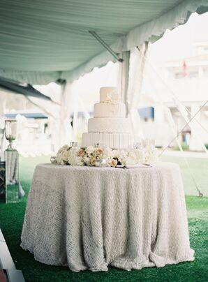 Ivory Fondant Wedding Cake with Decorative Piping