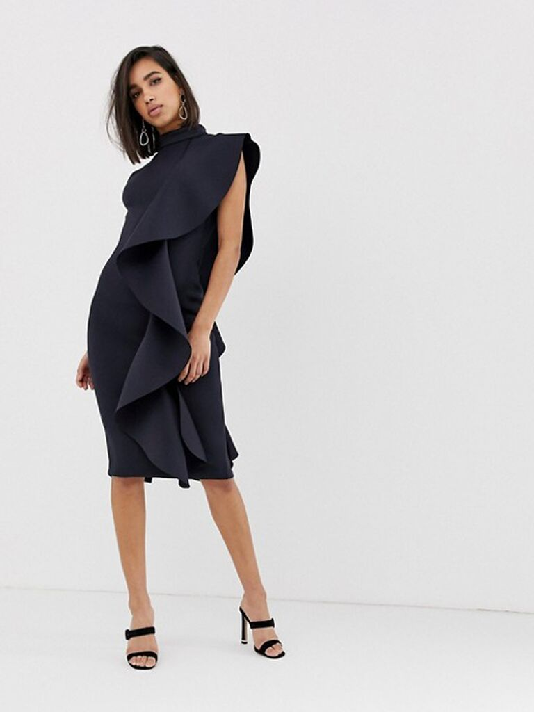Ruffled cocktail dress for formal wedding