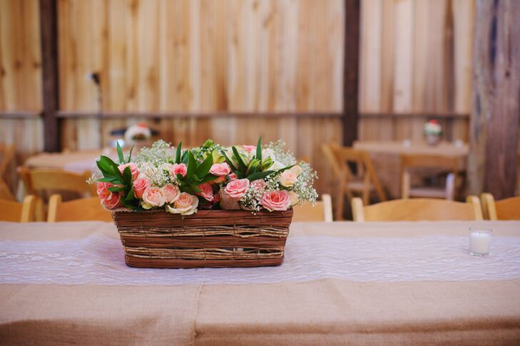 Wicker Basket Centerpiece With Pink And White Flowers Favorite The Head Table Was Covered In Burlap A Lace Runner Wooden