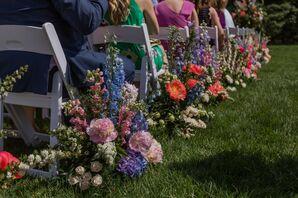 Colorful Floral Aisle Decorations