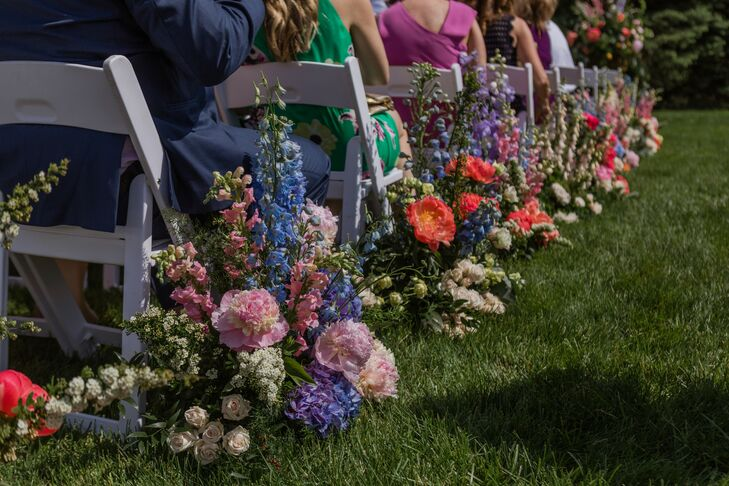 Colorful Floral Aisle Decorations