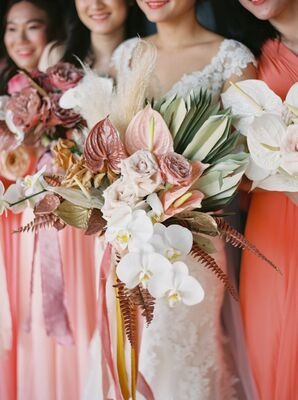 Bouquet with Orchids, Anthurium and Palm Leaves