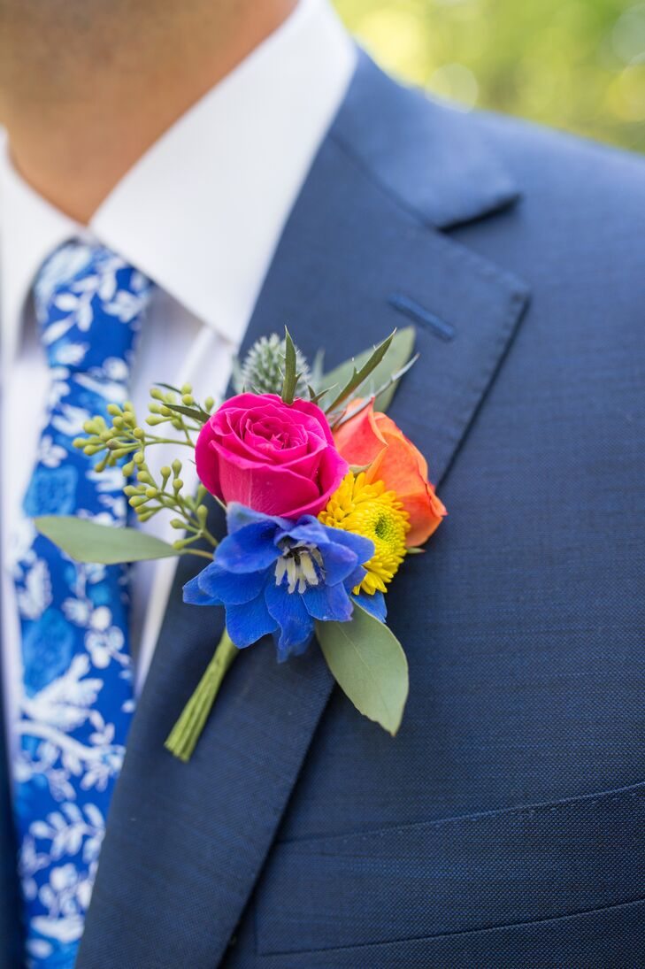 Bright Multicolor Rose, Thistle and Eucalyptus Boutonniere