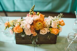 Wildflowers Inc. Peach and Blush Centerpieces