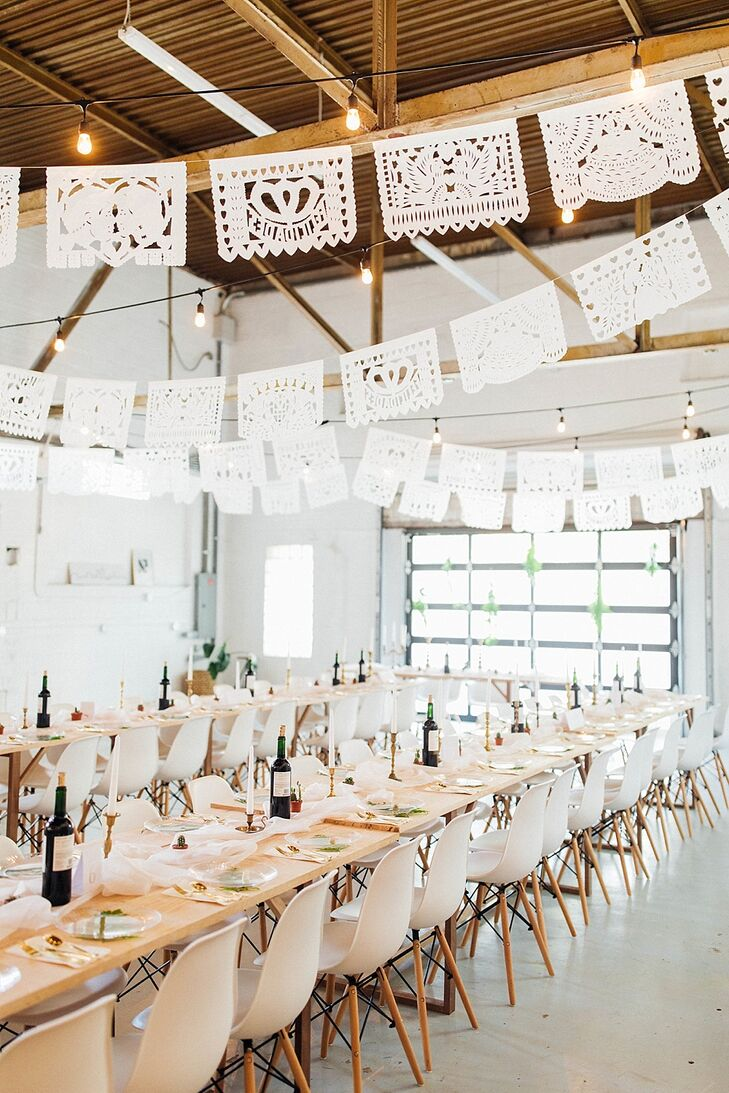 Modern Reception with Laser Cut Paper Banners