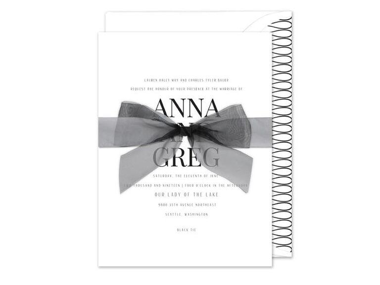 Black and white Monique Lhuillier wedding invitation