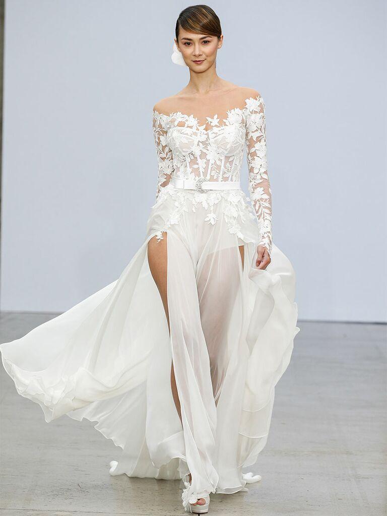 Pnina Tournai wedding dress bodysuit with sheer skirt