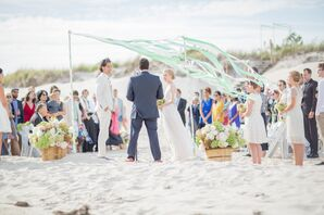 Green and White Ribbon Wedding Arch