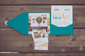 Retro Turquoise and Orange Wedding Invitations