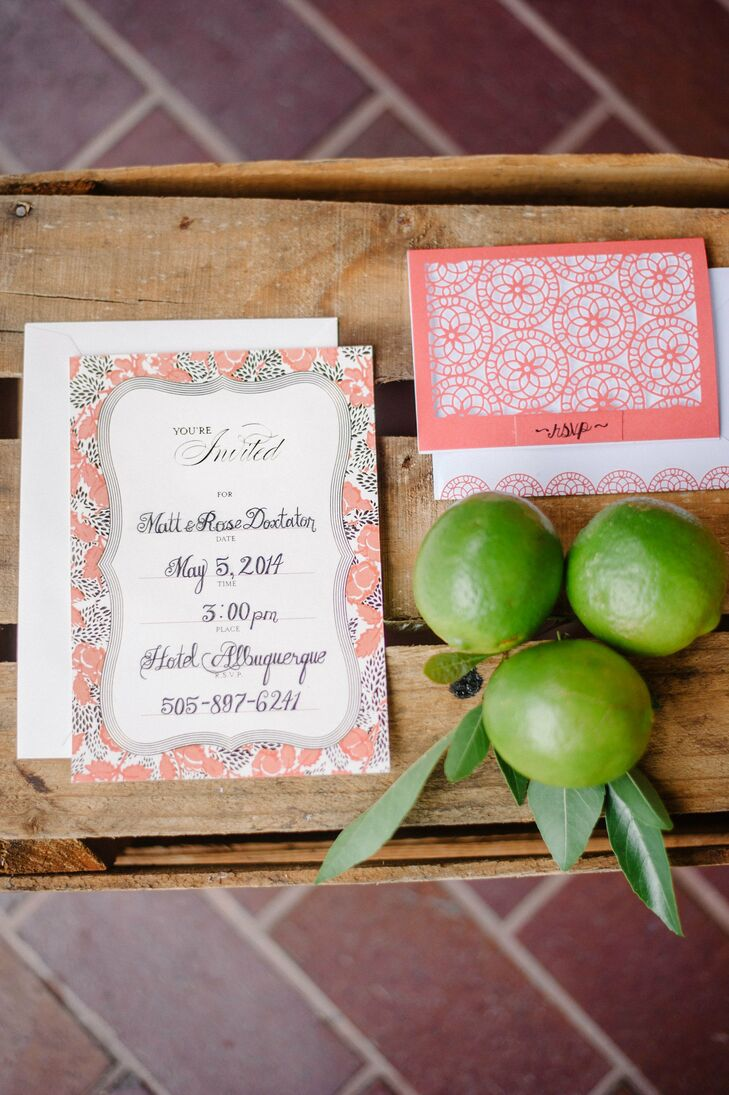 Pink and black floral invitations with pink laser cut RSVP cards were handcalligraphed and complemented the hacienda-inspired theme.