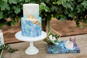 Blue Watercolor and Gold Wedding Cake