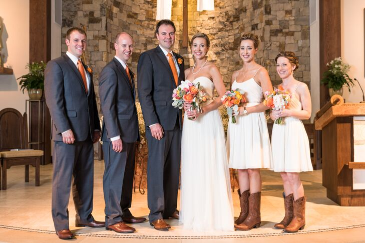 cee887c29f52 The bridesmaids donned short white dresses and matching Shepler cowboy boots  for the country wedding.