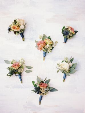 Rustic, Fall-Inspired Boutonnieres with Roses and Wildflowers