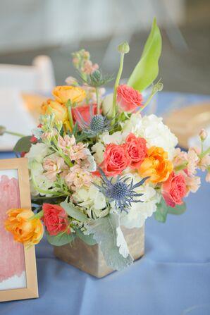 Coral and Blue Flower Arrangement