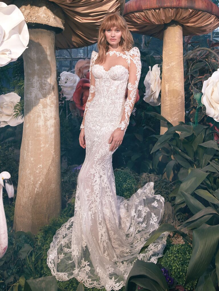 GALA by Galia Lahav Spring 2020 Bridal Collection illusion lace sheath wedding dress