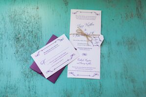 Rustic Neutral Invitations With Purple Accents