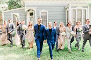 Modern Grooms and Elegant Wedding Party at Heritage Square Museum in Los Angeles