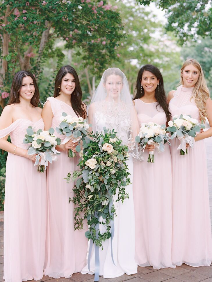 Caroline's four bridesmaids looked elegant in feminine, blush, floor-length gowns with the neckline of their choice.