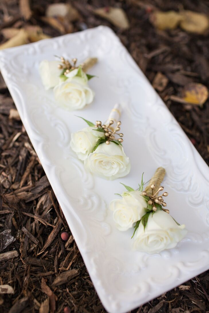 Ivory and Gold Boutonnieres