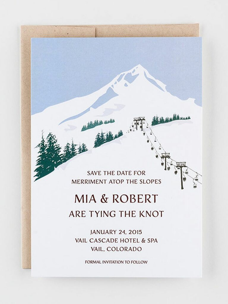 ski slope destination wedding save the date