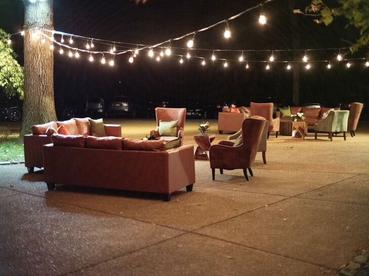Outdoor Lounge Seating at Rustic Estate Wedding in Ladue, Missouri