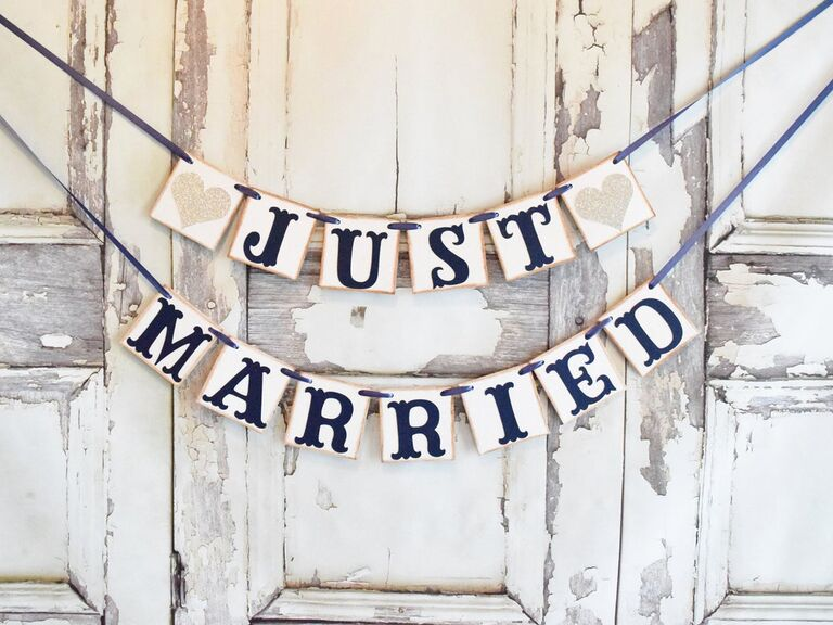 Just married banner for wedding car