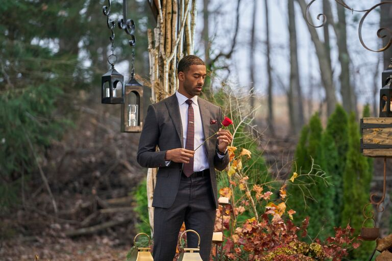 matt james bachelor finale holding a single rose