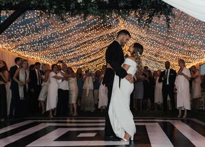 Classic First Dance in Tent with String Lights