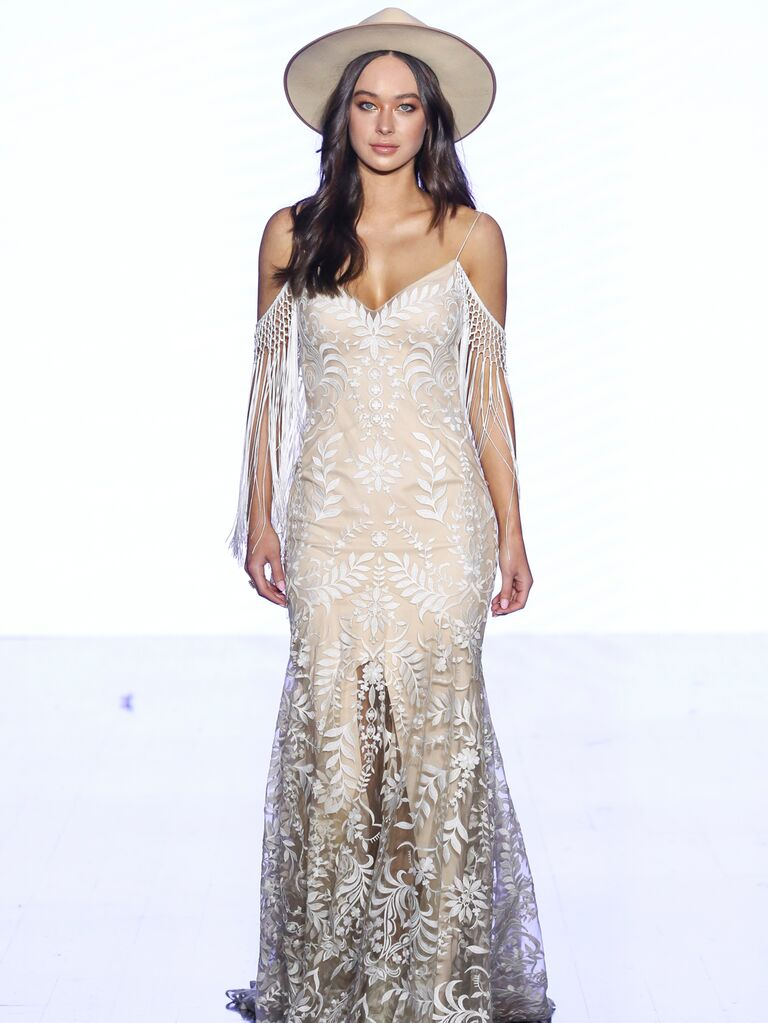 Willowby by Watters Fall 2019 Bridal Collection boho fringe and lace wedding dress