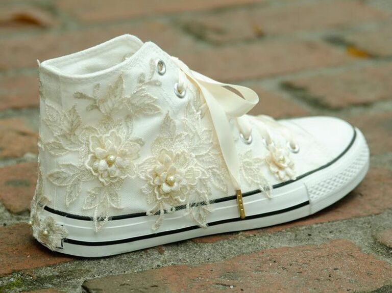 Lace high-top wedding sneakers