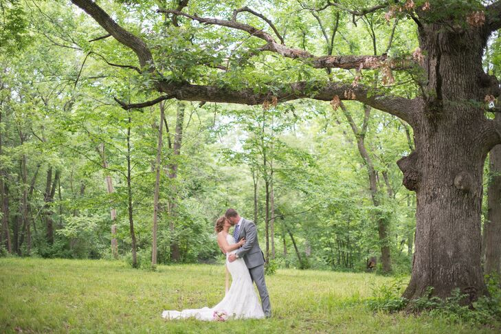 After the ceremony, the couple took photos among the huge old oak trees on the property.