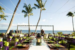 Reception Dining Tables Overlooking the Beach