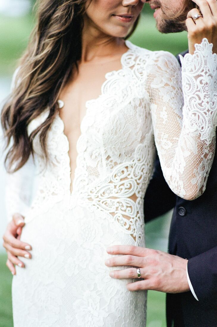 White Lace Wedding Dress with Plunging Neckline