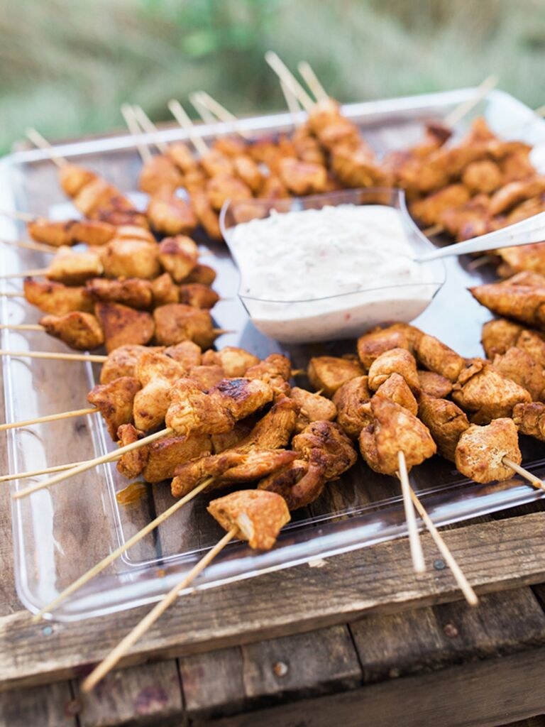 Moroccan chicken skewers and mint yogurt sauce wedding reception appetizer