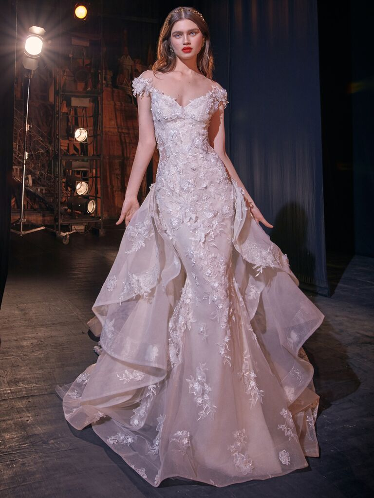 Galia Lahav Spring 2020 Bridal Collection lace wedding dress with cap sleeves and dramatic train